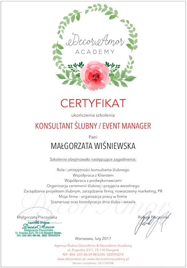 Certyfikat DecorAmor Academy Konsultant Ślubny Event Manager