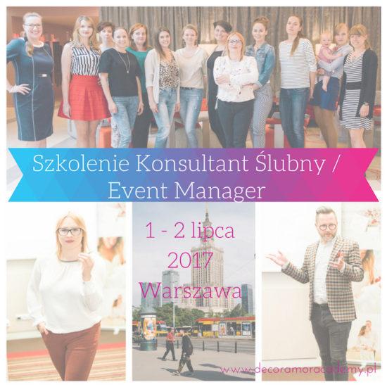 Szkolenie Kurs Konsultant Ślubne Wedding Planner - 1-2 lipca Warszawa