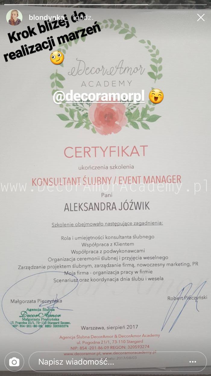 p-32- Agencja Ślubna DecorAmor Wedding Planner Konsultant Ślubny Organizacja Wesel Szkolenie Kurs Warszawa Szczecin Poznań Wrocław Kielce Kraków Katowice Gdańsk Academy